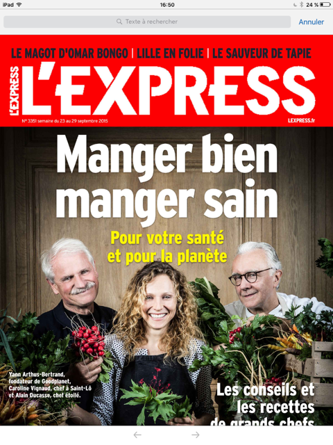 Couverture L'EXPRESS sept 2015